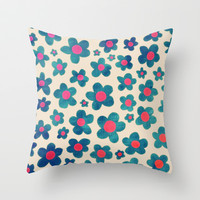 Happy Teal Vintage Daisies on Cream Throw Pillow by micklyn