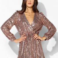 Honey Punch Sequin Surplice Dress - Urban Outfitters