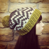 Hand Knit Hat Womens Chunky Slouchy Pom Pom Ski Hat - Golden Olive Wheat and Wood Brown - MADE TO ORDER