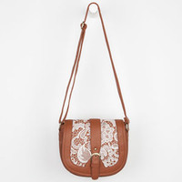 Lace Saddle Crossbody Bag Cognac One Size For Women 22908940901