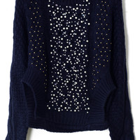 Beads Embellished Knitted Sweater in Navy