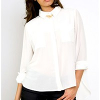 It's a Man's World Shirt - MinkPink White Blouse - $78