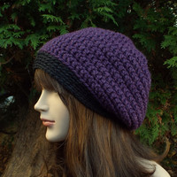 Deep Purple Slouch Beanie - Womens Slouchy Crochet Hat with Charcoal Trim - Oversized Cap - Chunky Hat