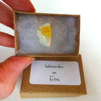 Rough Yellow Fire Opal and 14k Gold Chain Necklace