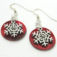 Red Snowflake Earrings, Christmas Red and Silver Earrings, Holiday Jewelry, Winter Snowflake Jewelry, Gifts Under 20, Red Shell Earrings