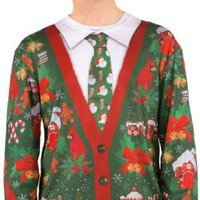 Mens Faux Ugly Christmas Cardigan Long Sleeve Tee