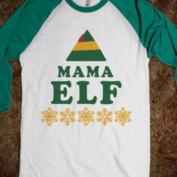 Mama Elf-Unisex White/Evergreen T-Shirt