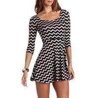 LATTICE BACK PRINTED SKATER DRESS