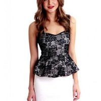 Sleeveless White and Black Lace Peplum Mini Dress