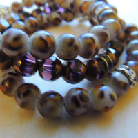 Purple and Cheetah Print Jewel Bracelet - Set of 3