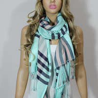 Mint Salmon Lightweight Oversized Plaid Unisex Scarf Shawl Christmas Gift For Her For Him ESCHERPE