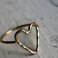 14K Gold fill Heart Ring by Rachel Pfeffer by luckyduct on Etsy