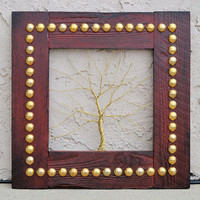 "Amy Giacomelli Original Wire Tree Abstract Sculpture Painting ... Wire tree on salvaged frame... Perfect gift size 16"" x 16"""
