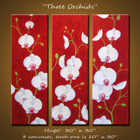 Amy Giacomelli Wall Art Art Original Large Abstract Modern Flowers Floral ... 30 x 30 ... 3 canvases
