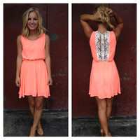 Neon Coral with Lace Back Detail Dress