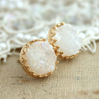 White Druzy studs earrings Green seafoam - 14k Gold filled Crown Lace setting gemstone jewelry.