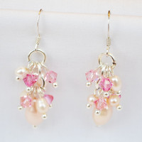 Drop Silver Earring White Pearl Gem Stone with Swarovski Crystal Bead Handmade by Flower GemStone