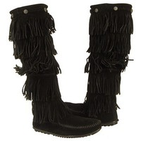 Women's Minnetonka Moccasin 5-Layer Fringe Boot Black Suede Shoes.com