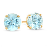 6.0mm Aquamarine Stud Earrings in 14K Gold