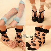 1 pair Hot Sweet Chic Women Cute Lace Flower Dots Pattern Thin Socks Stockings