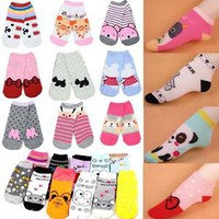 Korean Cartoon Animal Cute Women's Mix Colours Cartoon Boat Cotton Blends Socks