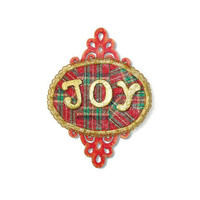Plaid Joy Sign holiday decoration christmas mini sign gold letters on red and green plaid
