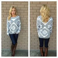 Grey & White Geometric Sweater
