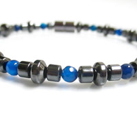 Magnetic Hematite Bracelet With Cobalt Blue Agate