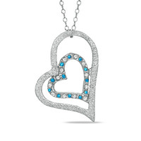 Enhanced Blue Diamond Fascination™ Double Heart Pendant in Sterling Silver with Platinum Plating