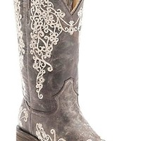 Corral® Ladies Distressed Brown w/ Bone Embroidery Square Toe Western Boots