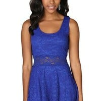 Lace Skater Dress with Scoop Neck Tank with Lace Illusion Waist