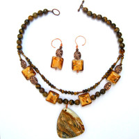 "OOAK 18"" Gemstone Necklace & Earrings Set Tiger Eye Picture Jasper Lampwork Copper"