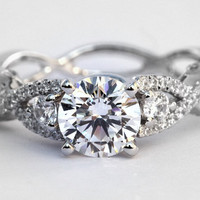 Diamond Engagement Ring SETTING semi mount- Round - Pave - Antique Style - 14K white gold - Weddings- Luxury- Brides