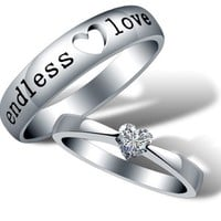 18k White Gold Plated Endless Love Couple Style Band Ring (Men's OR Women's)