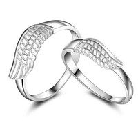 18K White Gold Plated Angel Wing Couple Band Ring
