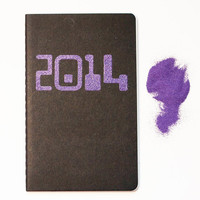 Purple 2014 Notebook, glam glitter pocket moleskine