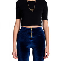 SImple Tee Shirt Crop Top - Black