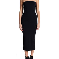 Strapless Simple Midi Dress