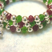 Cuff/Wrap Memory Wire Bracelet with Red and Green Luxe Czech Beads and Ornate Cross Charm, Handmade