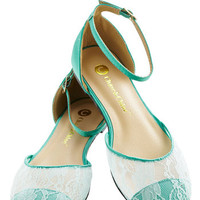 World of Wonderment Flat in Mint | Mod Retro Vintage Flats | ModCloth.com
