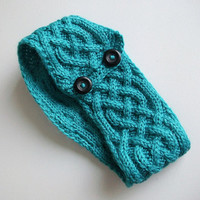 Vegan Turquoise Knitted Headband Celtic Knot Headwrap Handmade Teal Blue Knit Earwarmer Irish Eire Modern
