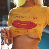 Wildfox Fine Lips Skinny Tee In Sunflower