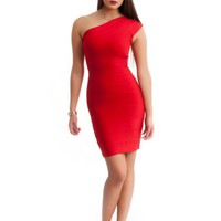 Red One Shoulder Bandage Dress