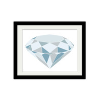 "Diamond. Geometric Diamond. Blue Tones. Blues and Greys. Abstract. Trendy and Modern. Minimalist, 8.5x11"" Print."