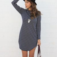 Navy Blue Striped Loose Dress