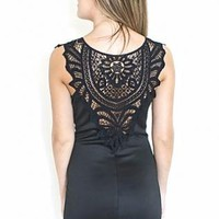 Black Crochet Back Sleeveless Dress with Mesh V-Neck Front