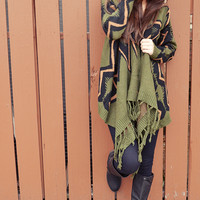 Keep You And Me Low Key Cardigan: Green/Multi