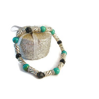 Turquoise Black and Silver Bracelet Handmade for Women