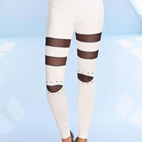 White Leggings with Mesh Insets and Stud Embellishment