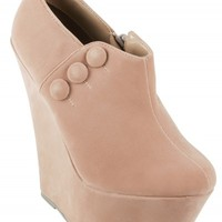 Dark Nude Suede Button Wedge Ankle Boots | Shoes | Desire